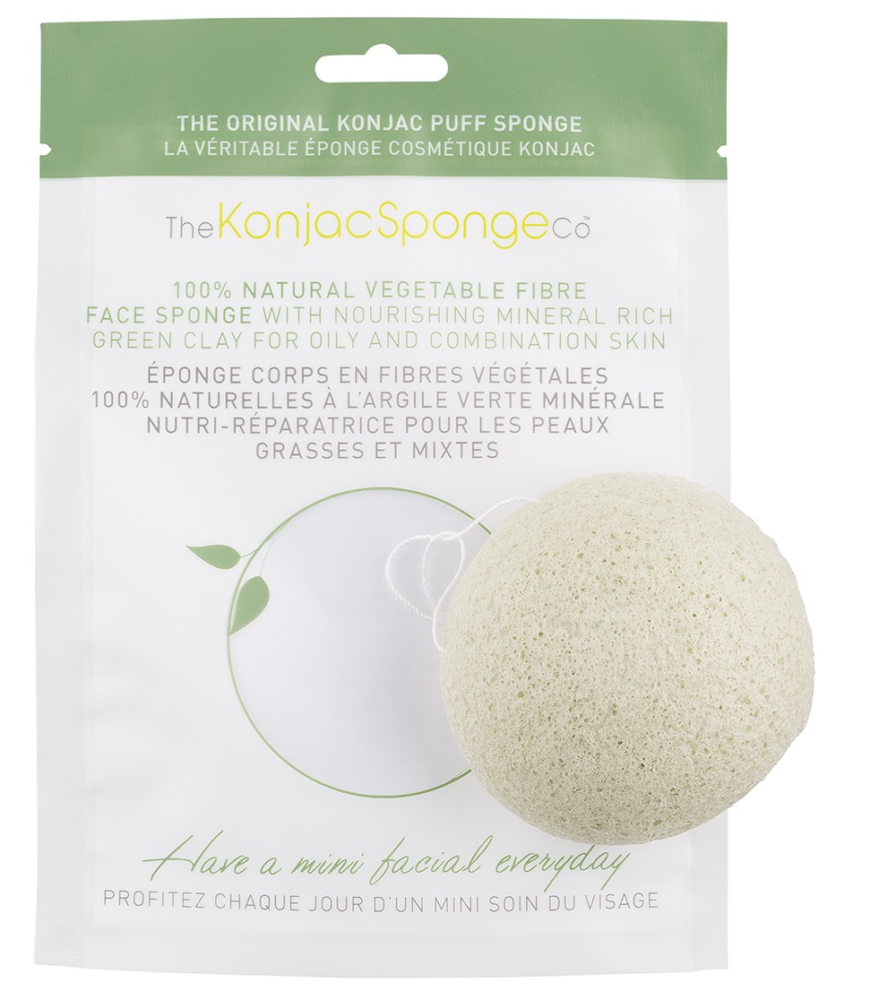 Facial puff sponge 100% pur Konjac with nourishing mineral rich french green clay - normal & oily skin - Konjac Sponge Co.